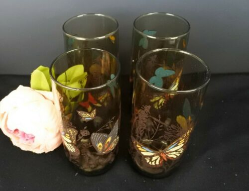 """Lot Of 4 Anchor Hocking Smoky Brown Butterfly Tumblers Glasses 6"""" Tall 16 oz"""