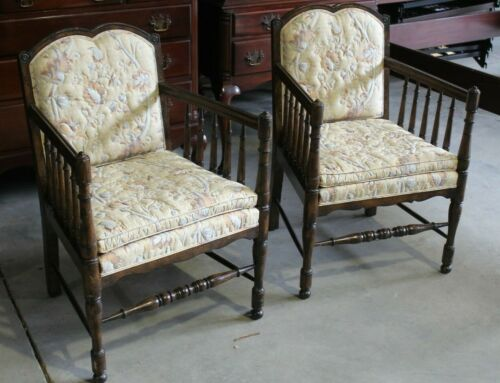 Pair of Vintage, High End Spindle Side Arm Chairs - Beautiful!!