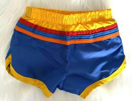 NOS New Vintage 70s 80s Deadstock Baby Nylon Swim Trunks Shorts Rainbow Stripe @