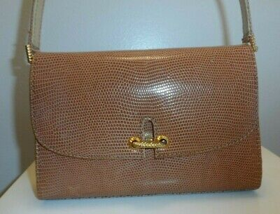 Vintage 1970s Gucci Caramel Brown Lizard Flap Bag Soft Leather Lined Gold Clasp