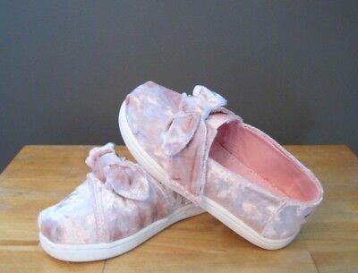 Toms Toddler Girl Faded Rose Velvet / Bow Classic Slip On  US 8, 9, 10, 11 - Toddler Girl Toms