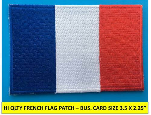 """FRENCH FRANCE FLAG PATCH IRON-ON SEW-ON EMBROIDERED APPLIQUE (3½ x 2¼"""")- HI QLTY"""