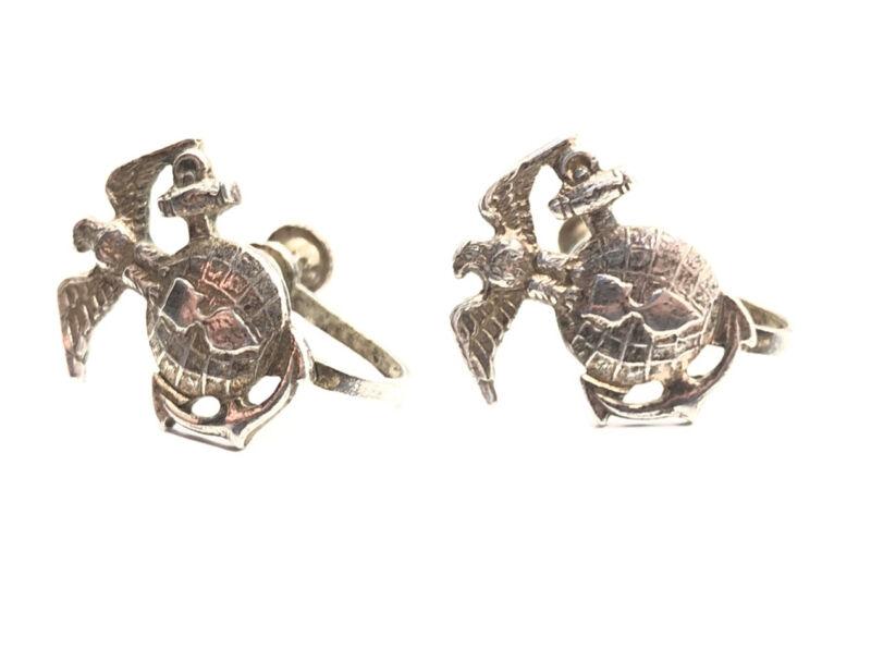Vintage Midcentury Sterling Silver 925 U.S. Marines Military Screw Back Earrings