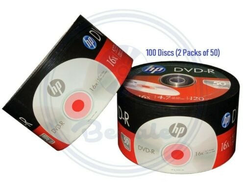100 Hp Dvd Dvd-r Logo 16x Branded Disc Blank Media 4.7gb/120min