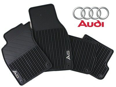 For A6 Quattro 06-12 New Set of Front & Rear All Weather Black Rubber Floor Mats