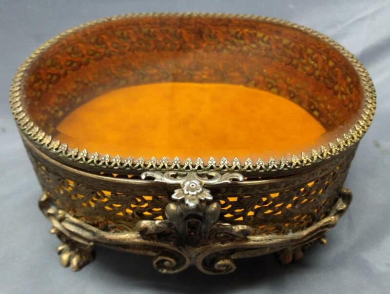 Old Vintage MCM Gold Tone Oval Glass Jewelry Box Casket Ornate for a Vanity