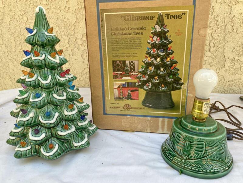 "Vintage 16.5"" Tall California Originals Ceramic Lighted Christmas Tree w/ Box"
