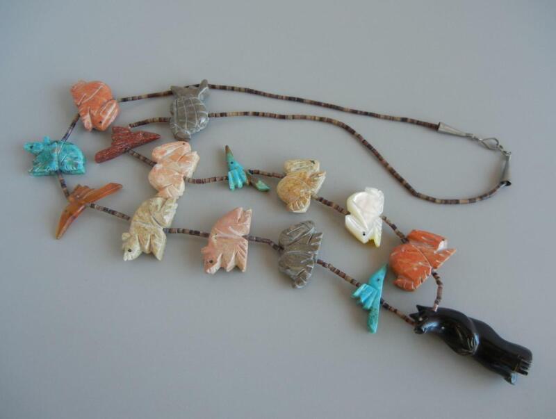 "Vtg Fetish 30 1/2"" Necklace Multi Stone Turquoise Jasper Zuni Native American"