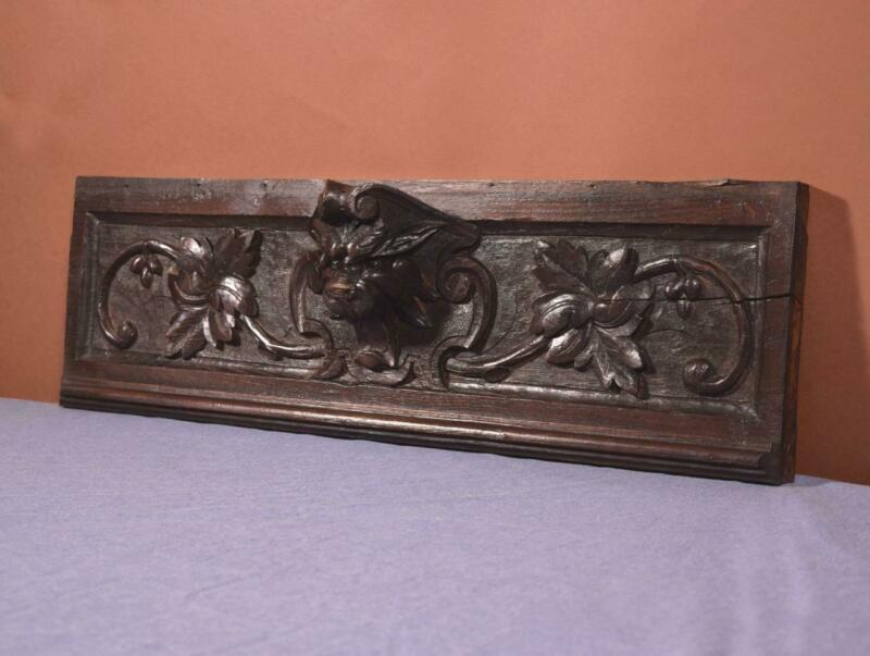 Solid Oak French Antique Woodcarving Panel with Cat