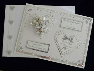 Large Wedding Day Card + Box Son/Daughter/Sister etc Handmade Personalised
