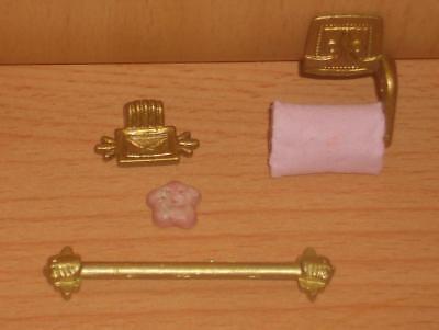 edles 4-teiliges Bad aus Porzellan Blumendekor Miniatur 1:12 Puppenhaus
