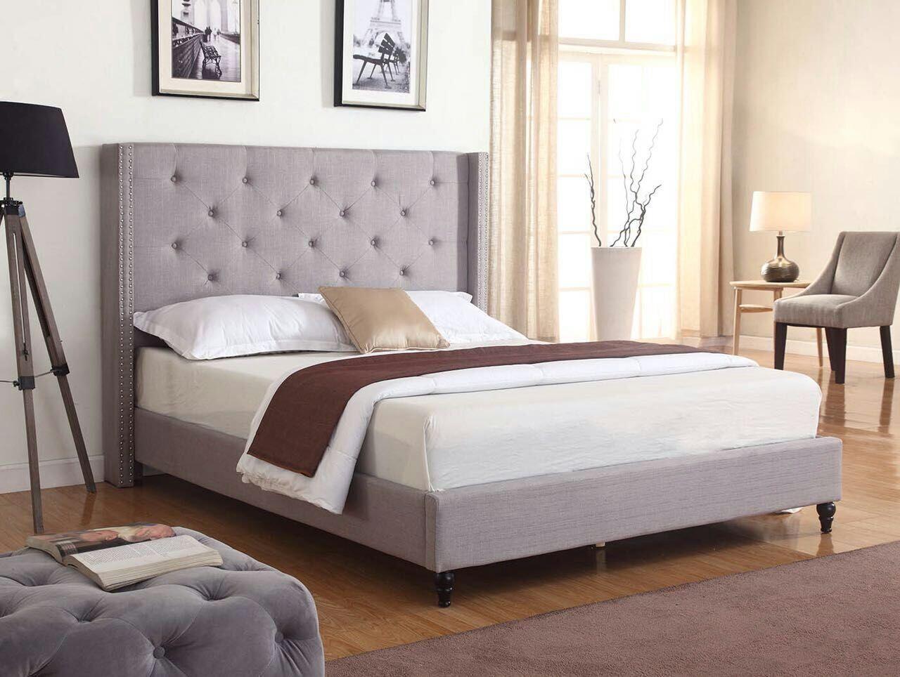 GREY Fabric WingBack KING Size Platform Bed Frame & Slats Mo