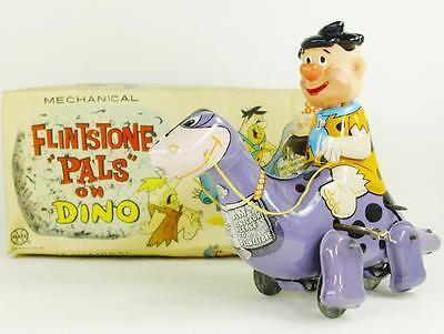Vintage Marx Japan Tin Fred Flintstone Pals On Dino, Wind Up Toy Original Box