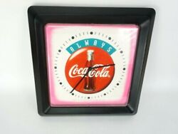 Coca-Cola Wall Clock 1994 VTG white red pink blue analog 13 x 13 sq always coke