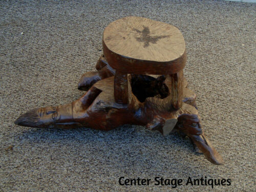 59698 Folk Art Rustic Figural Carved Faces Stool Bench Stand  Coffee Table