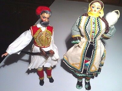 Vintage His Her Couple Greek Gypsy Peasants Dolls Traditional Costume (14