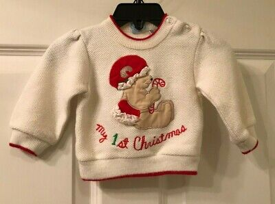 GIRL'S INFANT RATTLES BRAND MY FIRST CHRISTMAS SWEATER SIZE 3-6 M