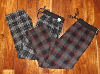 NWT Mens NAUTICA Sleepwear 2 Pair Gray Black Red Plaid Pajama Lounge Pants XL