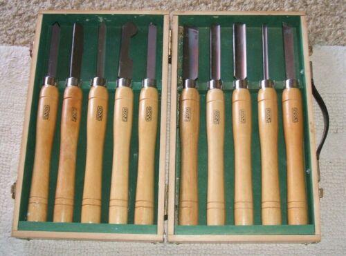 Vintage AMT CHISEL SET w/ wooden case  Wood Handles  Lathe Tools EUC