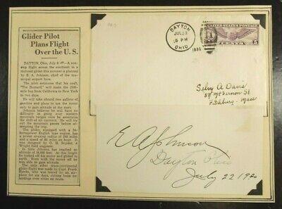 Edward Albert Johnson ''Early Bird'' Aviation Pioneer Autograph 'Rare' Died 1949
