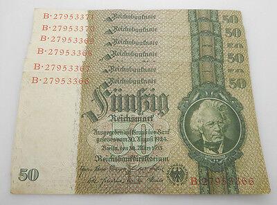 Lot of 6 50 Mark 1933 Deutschland Reichsbanknote Reichsmark B Block Consecutive