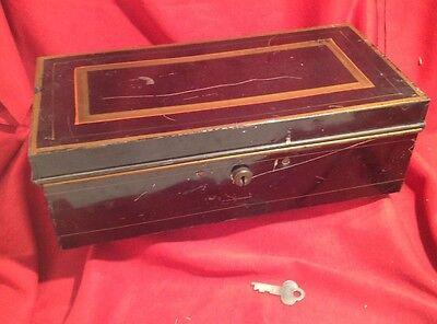 "Antique Valley Strong Box & KEY Black Metal 11"" Cash Safe Storage Tin Vintage"