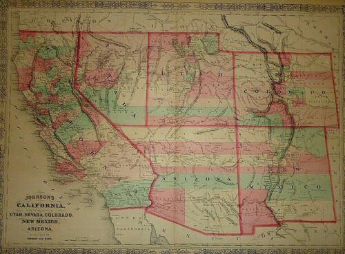 Vintage 1864 SOUTHWESTERN UNITED STATES MAP Old Antique Original & Authentic