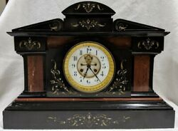 Antique French  Medaille De Bronze All Marble Mantel Clock - 21 64LBS
