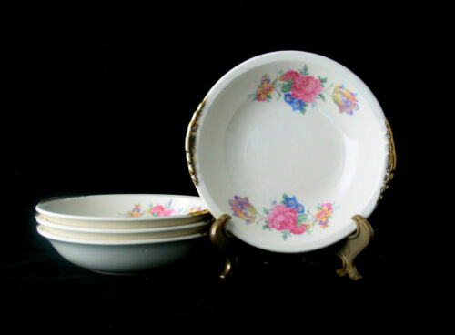 Paden City Pottery Rosalee Fruit Berry Bowls w/ Gold Trim | Vtg 1940s | Set of 4