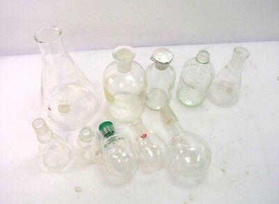 13 Pc Laboratory Lab Glass Set Flask Beaker Bottle Round Bottom Borosilicate