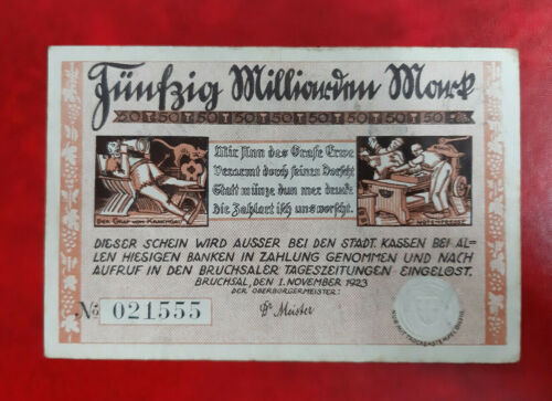 BRUCHSAL NOTGELD 50 MILLIARDEN MARK 1923 EMERGENCY MONEY GERMANY (14168)