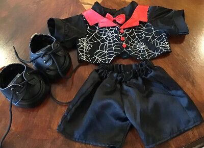 Bear Halloween Outfit (Build A Bear 3 Pc Halloween Outfit Black Red Tuxedo With Spider Webs Pants)