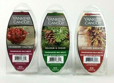 Lot of 3 Yankee Candle Wax Melts Cranberry Chutney Balsam & Cedar Autumn Wreath