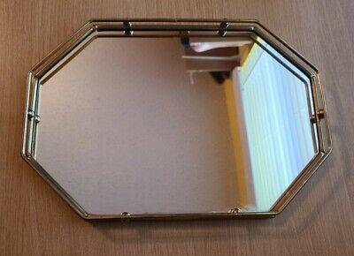 Vintage Gold Metal Octagon Mirrored Vanity Tray Perfume Holder Mirror
