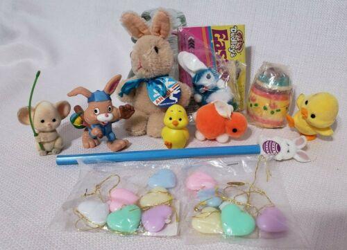 Vintage Easter Figurines Fuzzy Bunny Heart Ornament Chicks Hallmark More Lot