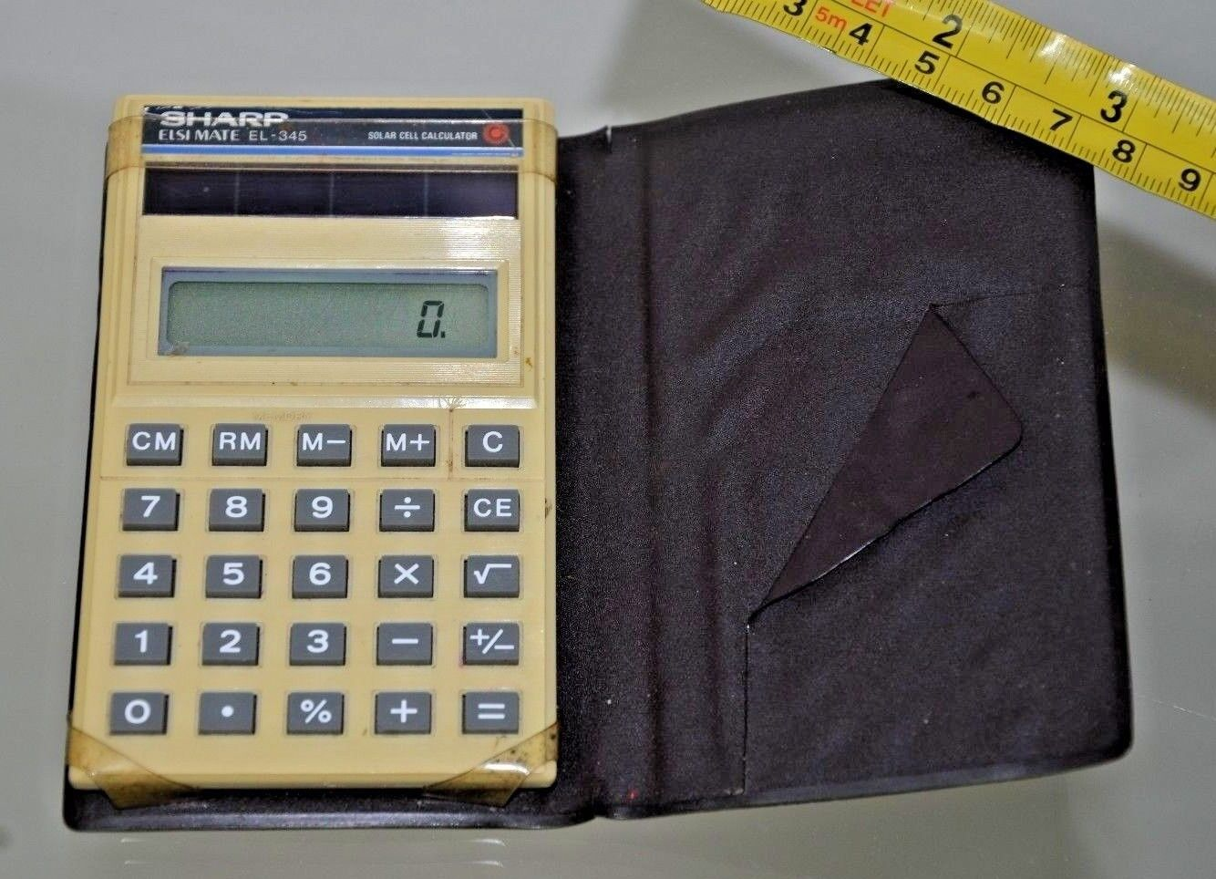 Sharp EL-345 Handheld Electronic Calculator, 1985, solar-powered