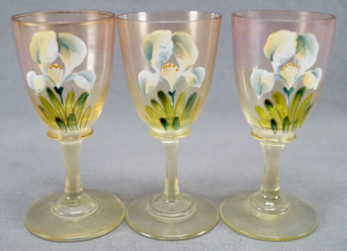 Set of 3 Theresienthal / Moser Hand Enameled Iris Flower Cordial Glasses C 1900