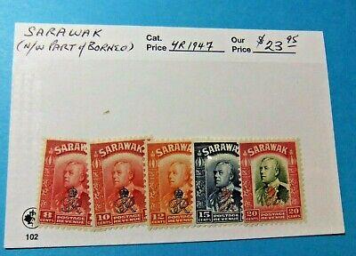 5 Borneo / Sarawak Stamps, 1947