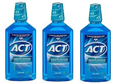 ( 3 Bottles ) ACT Restoring Anticavity Mouthwash, Oral Cool Splash Mint, 33.8 Oz