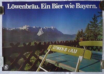 Plakat Poster - Löwenbräu - Oktoberfest Brauereiwerbung München Alpen Berge
