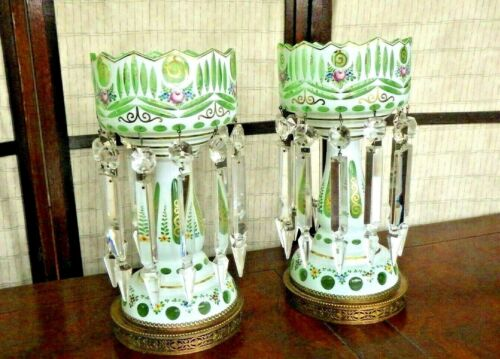 Pair Bohemian Moser Cased Art Glass Mantle Luster Lamps & Prisms White to Green