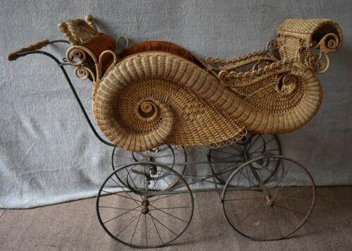 Gorgeous Wicker Baby Carriage Stroller circa 1880
