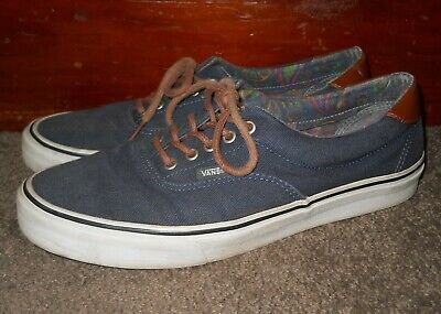 deck shoes VANS era navy blue Canvas leather Low Top Men's Size 10.5 TC7H