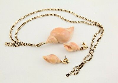 Vintage Avon cream Lucite carved sea shell chain necklace stud earrings set lot