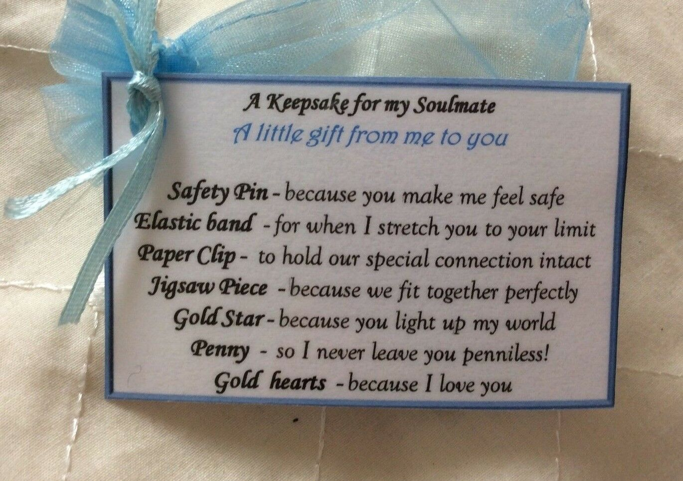 Details about Keepsake gift for soulmate gift Anniversary Christmas  Birthday gift for him men