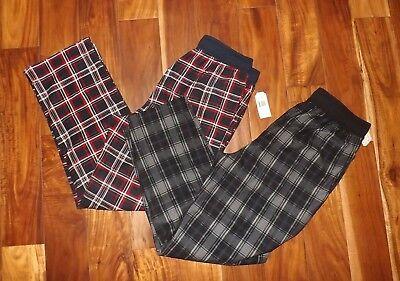 NWT Mens NAUTICA Sleepwear 2 Pk Blue Red Black Gray Plaid Fleece Pajama Pants M