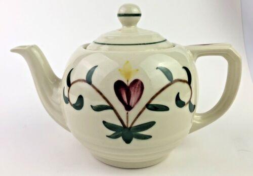 Vintage USA art Pottery Pennsylvania Dutch  teapot heart