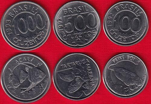 """Brazil set of 3 coins: 100 - 1000 cruzeiros 1992-1993 """"Animals"""" UNC"""