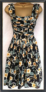NEW-ATMOSPHERE-RETRO-BLACK-YELLOW-DRESS-SIZES-8-10-12-14-16-18-20-50s-VINTAGE