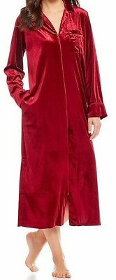 NWT Ralph Lauren Burgundy/Red VELVET FULL-ZIP CAFTAN Long Gown Robe M POCKETS - Red Velvet Robe